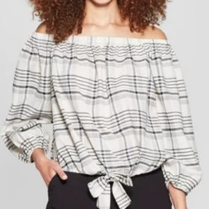 a new day Tops - NEW 3/4 Sleeve Off the Shoulder Tie Front Blouse